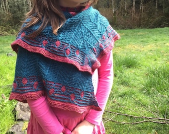 Catkin Capelet - Handknitted, Handspun Merino/Polwarth/Silk & Bluefaced Leicester/Silk/Cashmere - Free US Shipping