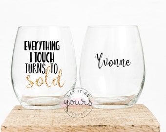 Realtor Gift For Closing Real Estate Agent Wineglass