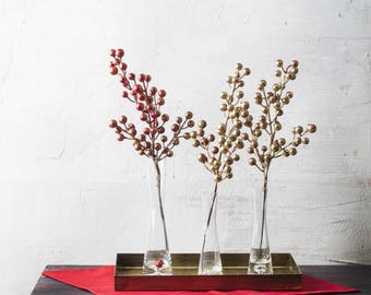 Artificial Gold Berry Branch for Christmas and Winter Decoration and Centerpiece