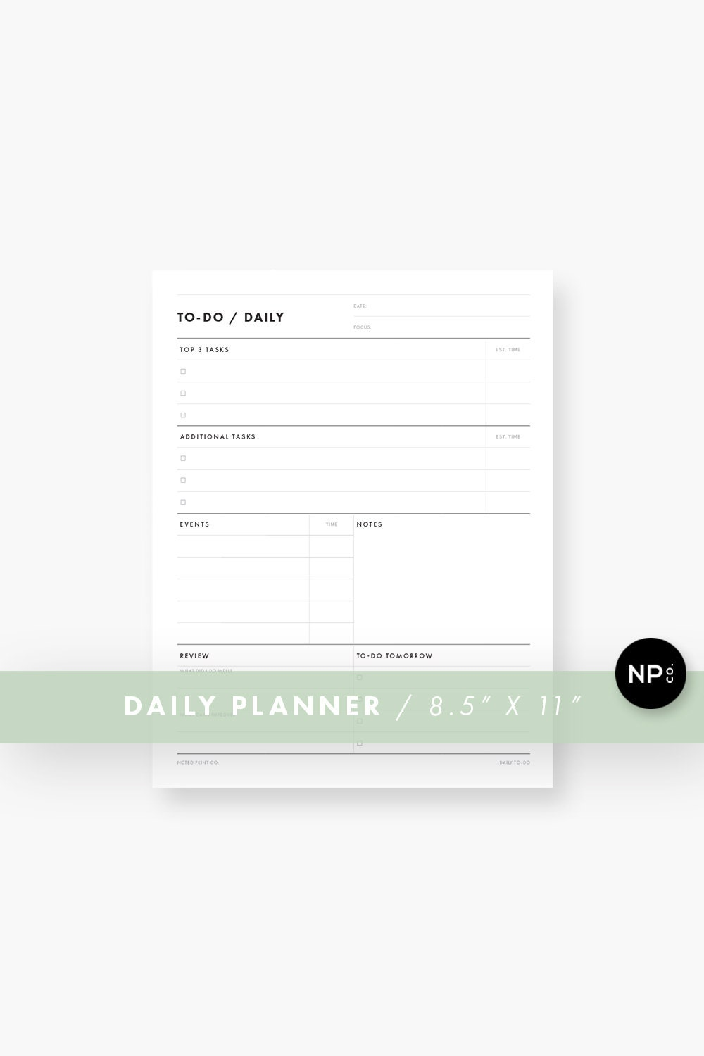 image relating to Full Focus Planner Pdf named Printable Every day Plan PDF, Productiveness Planner, Docket, Organizer, ToDo Checklist, Routine - Minimalist Revolutionary - Letter Dimension Quick Obtain