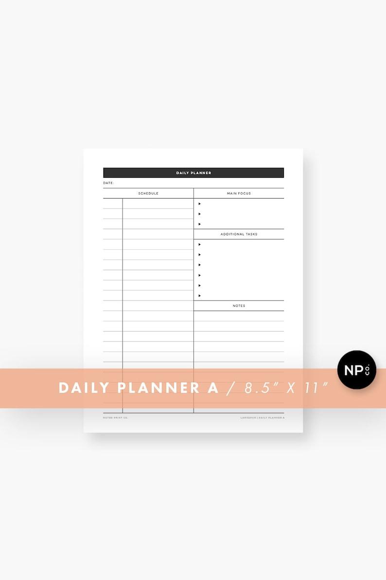 Daily Planner Printable  Minimalist Organizer  Black and image 0