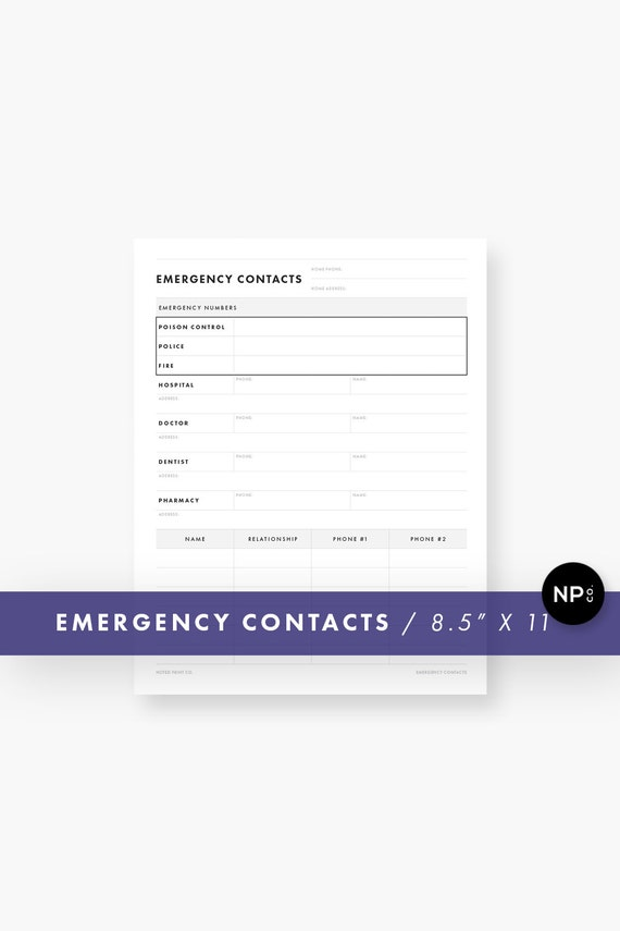 emergency contact sheet digital download household etsy