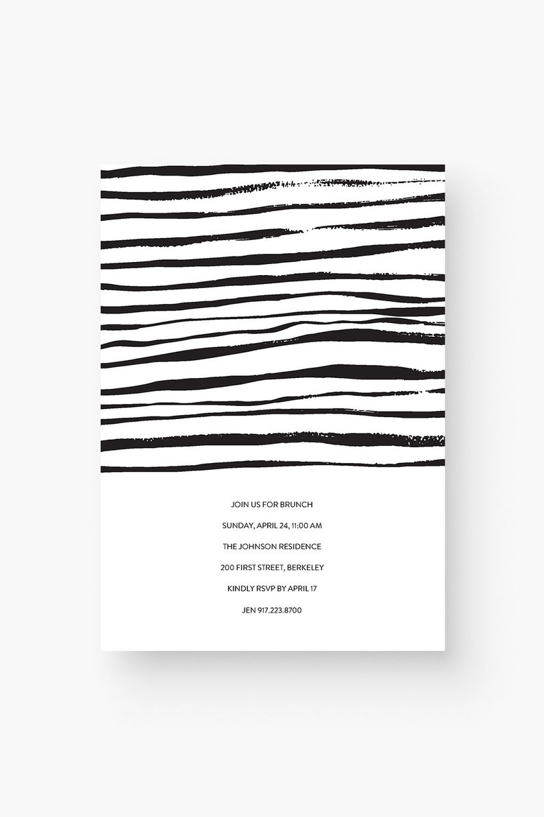 Editable Invitation Template Download  Modern Black and White Printable Party Invites