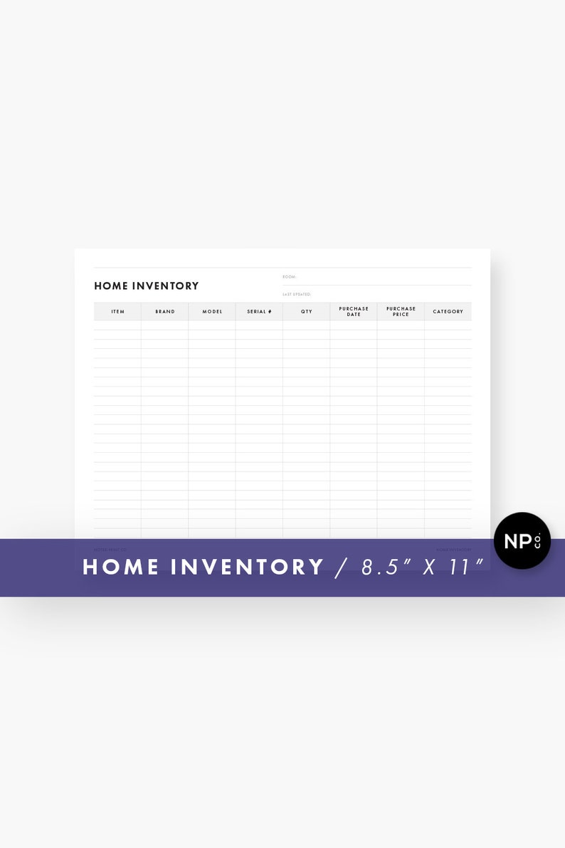 Home Inventory Information Sheet 8 5 X 11 Letter Size Printable PDF Instant Digital Download Minimalist Modern Black And White