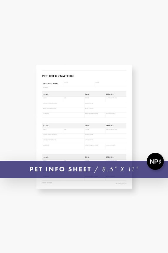 pet information sheet 8 5 x 11 letter size printable pdf etsy