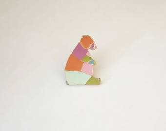 Beautiful Enamel Origami Bear Pin Badge.