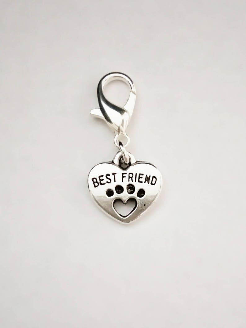 20 Tibetan Silver Love My Dog Heart Charms Paw Print