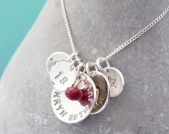 Birthday Necklace With Birthstone Sterling Silver