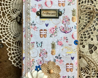 To the Sea Vol. 1 Handmade Journal/Junk Journal/Smashbook/Journals/Travel Journal/Beach Journal/Summer Journal/Memory Keeping/Women's Gift