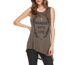 Fashionazzle Women's Sleeveless Round Neck Letters Print Asymmetrical Tunic Top