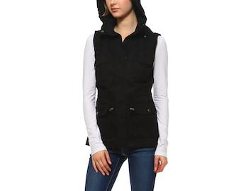 581da7f7c508e Fashionazzle Women s Lightweight Sleeveless Military Anorak Utility Jacket  Vest