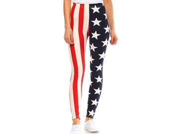 694faff035f3 Fashionazzle Women s Ultra Soft Brushed Best Selling American Flag Leggings