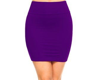 41f96d5f96 Fashionazzle Women's Casual Stretchy Bodycon Pencil Mini Skirt Violet