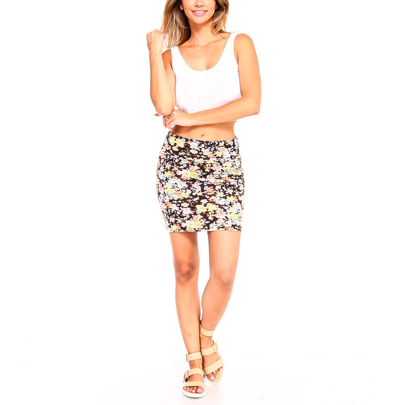 Fashionazzle Women/'s Casual Printed Cotton Stretchy Bodycon Pencil Mini Skirt