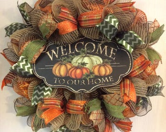 Fall Wreath,Autumn Wreath,Welcome Wreath,Pumpkin Wreath,Thanksgiving Wreath,Welcome Wreaths,Fall Wreaths,Thanksgiving Wreaths