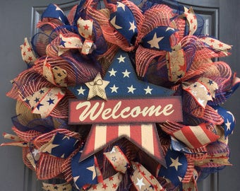 Patriotic Wreaths,4th of July Wreath,Fourth of July Wreath,Home Wreath,Memorial Day Wreath