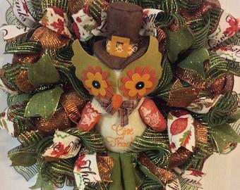 Fall Wreath,Autumn Wreath,Turkey Wreath,Thanksgiving Wreath,Owl Wreath