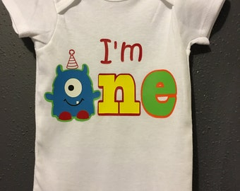 Monster birthday onesie