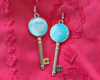 Blue Crater Key Earrings