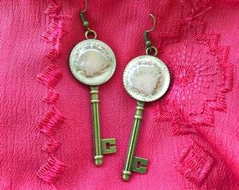 Cream Crater Key Earrings
