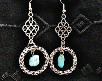 Silver Stone Textured Earrings