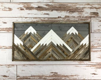Rustic Mountain Tops. Grey Sky. Single Piece. Reclaimed Wood Wall Art. Wood  Mountains. Mountain Wood Wall Art. Handmade Mountains.