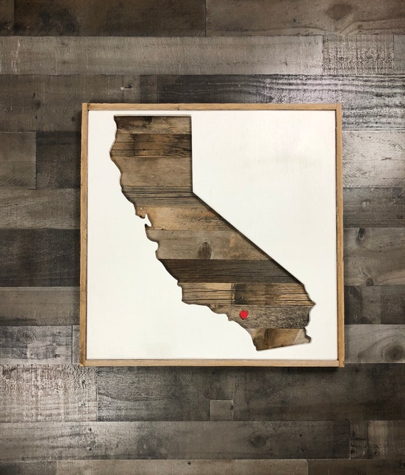 Reclaimed Flooring California: Rustic California Silhouette. State Shape. Reclaimed Wood