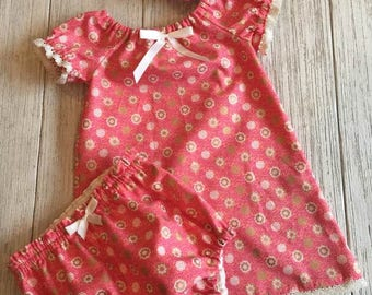 Peasant Dress Coral Set 9-12 Months KL05201701