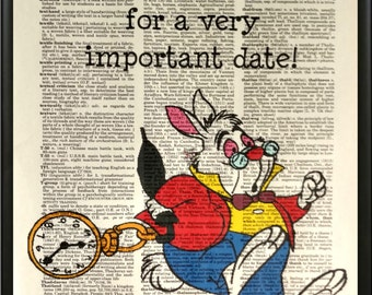 AinW--Rabbit, Late for an important date! Dictionary Art Print, Wall Decor, Home Decor, Upcycled Art, Mixed Media, Art Print, Book Art