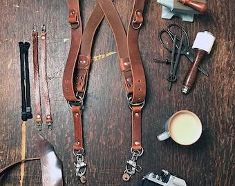 Dual Camera Harness Real Full Grain Leather Multicamera Harness Brown