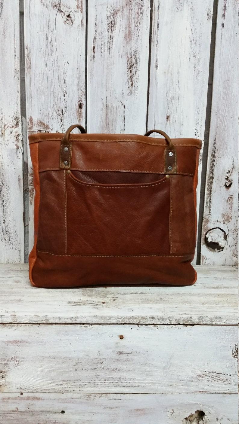 Mahogany Brown Leather and Vintage Woven Textile Tote Bag Shoulder Handbag