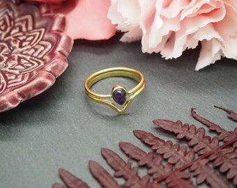 AWAN Amethyst Brass Ring