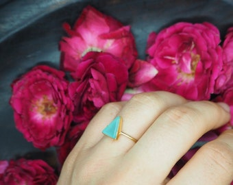 THE MINIMALIST Aquamarine Sterling Silver 925 18ct Gold Plated Ring