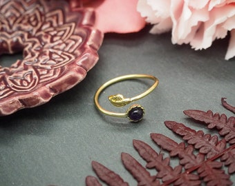 IGASHO Amethyst Brass Ring