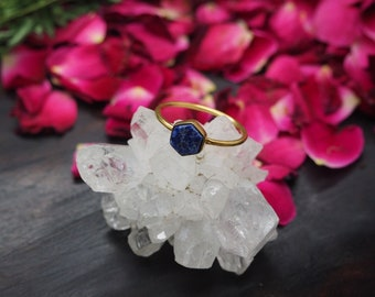 HEXAGON Lapis Lazuli Sterling Silver 925 18ct Gold Plated Ring