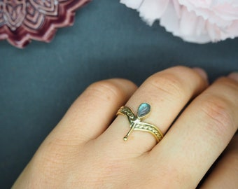 FALA Labradorite Brass Ring