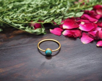 SANI Turquoise Sterling Silver 925 18ct Gold Plated Ring