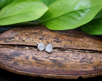 Minimalistic Hexagon Moonstone Sterling Silver 925 Ear studs