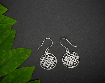 SRI YANTRA Silver Plated Earrings