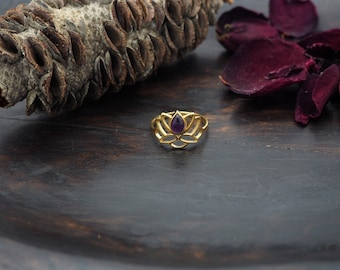 LOTUS Amethyst Sterling Silver 925 18ct Gold Plated Ring