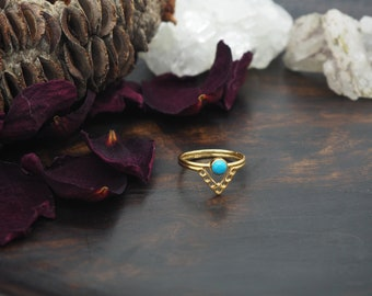 ADSILA Turquoise Sterling Silver 925 18ct Gold Plated Ring