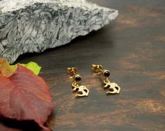 AUM black Onyx Ear Stud Sterling Silver 925 18ct Gold Plated
