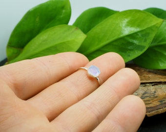 HEXAGON Moonstone Sterling Silver 925 Ring