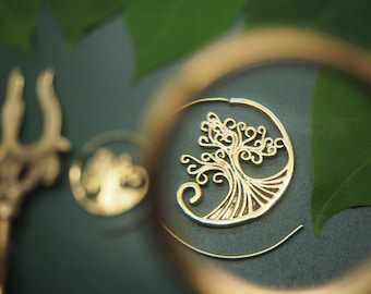 TREE OF LIFE Tribal Brass Earrings