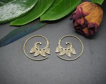 FEATHER Spiral Brass Earrings