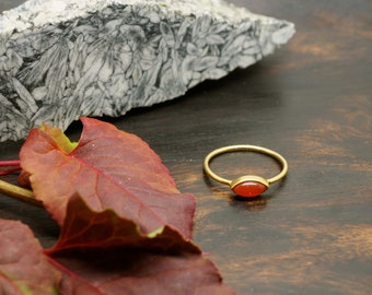 LOMASI Carnelien Sterling Silver 925 18ct Gold Plated Ring