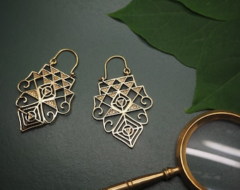 ADOETTE Tribal Brass Earrings