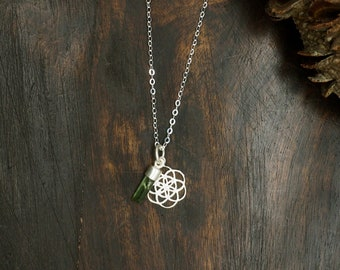 SEED OF LIFE Turmalin Sterling Silver 925 Pendant