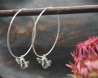 BEE HOOP Earrings Sterling Silver 925