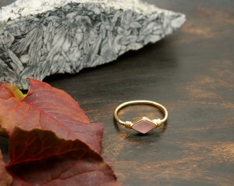 MINAL Rose Quartz Sterling Silver 925 18ct Gold Plated Ring